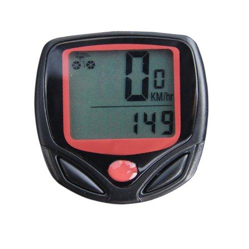 Cable de la bicicleta del LCD del ordenador velocímetro cuentakilómetros con 14 funciones - Negro