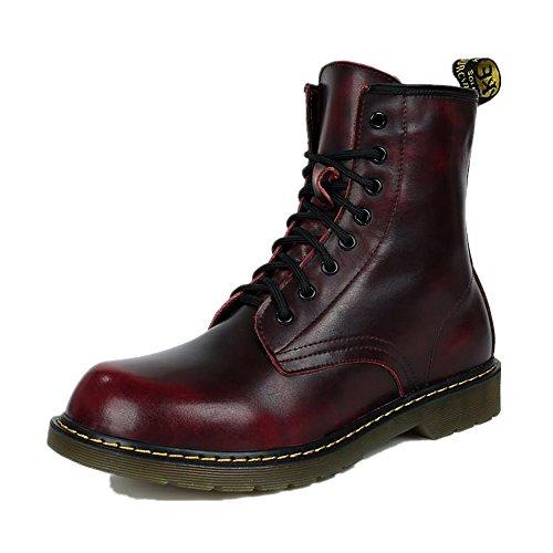 Hanglin Trade Men Motorcycle Boots Vintage Combat Boot Winter Fur Cow Split Leather Waterproof Military Boots Men Shoes(Red wine 45/14 B(M) US Women/10.5 D(M) US Men)
