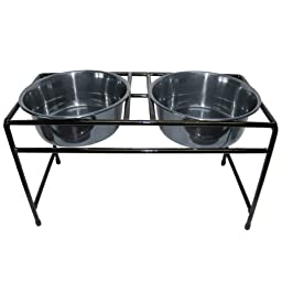 Platinum Pets Double Diner Feeder with Stainless Steel Heavy Dog Bowls, 32 oz, Chrome