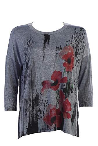 Jess & Jane Women's Rising Flower Slinky Knit Side Slit Tunic Top (XL, Rising Flower)