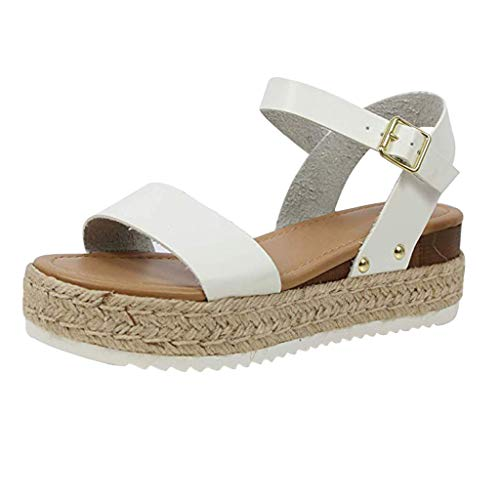 Sunhusing Women's Solid Color Open Toe Thick with Sandals Casual Wild Thick Platform Buckle Strap Sandals White