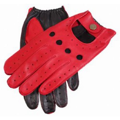 Dents Mens Berry Leather Two Tone Driving Gloves - Red/Black - Large