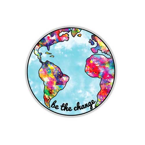 Earth Sticker Be The Change Planet Earth Decal by Megan J Designs Laptops Windows Cars Vinyl Sticker