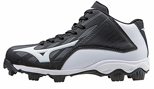 Mizuno 9 Spike ADV Yth FRHSE8 MD BK-WH Youth Molded Cleat (Little Kid/Big Kid), Black/White, 1 M US Little Kid