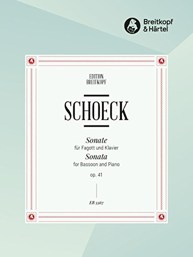 Partitions classique EDITION BREITKOPF SCHOECK O  - SONATE OP  41 - BASSON,  PIANO Basson