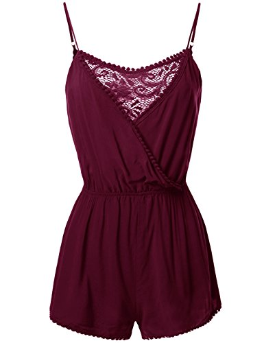 Awesome21 Solid Spaghetti Strap Lace Detail Romper Jumpsuit Burgundy Size L