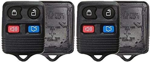 (KeylessOption Just the Case Keyless Entry Remote Car Key Fob Shell Replacement - Black (Pack of 2))