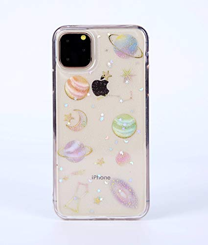 iPhone 11 (6.1 inch) Case, Blingy's Sparkling Planets Pattern Shiny Bling Bling Transparent Clear Soft TPU Protective Case Compatible for iPhone 11 6.1