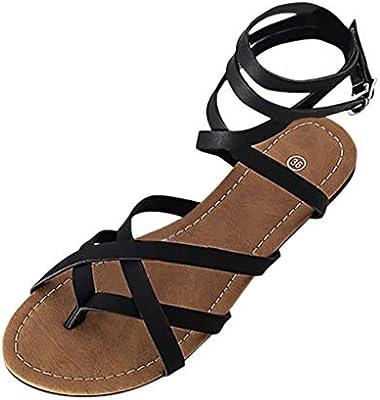 554ccb0a8177 LEERYAAY Heels Pumps Womens Fashion Flats Breathable Shoes Open Toe Buckle  Strap Ladies Roman Sandals Black