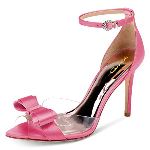 Satin Bow High Heel Sandal - XYD Women Pointy Peep Toe Stiletto High Heels Ankle Strap Bows Sandals PVC Satin D'Orsay Pumps Size 8 Hot Pink