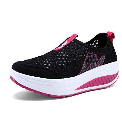 Light Shoes EnllerviiD On Athletic 1 Slip Women Sneakers Fitness Fashion Up Shape Weight Black 3308 Platform S0f8wq