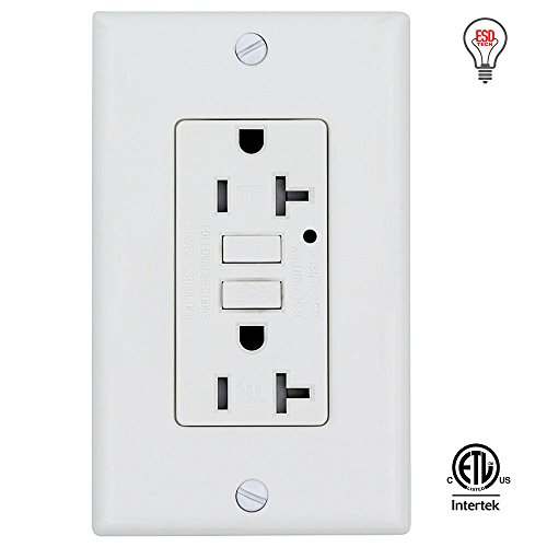 GFCI Wall Outlet Receptacle – 20 Amp, 125 Volt Tamper Resistant and Self-Test Duplex with LED Indicator Light. ETL Listed and Comes with Wall plate and - North Outlet