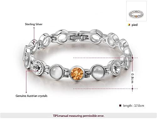 Proud of my love Genuine Austrian Crystal Sterling Silver Plated Bracelet for Girls and Women with Jewelry Gift Box Packing
