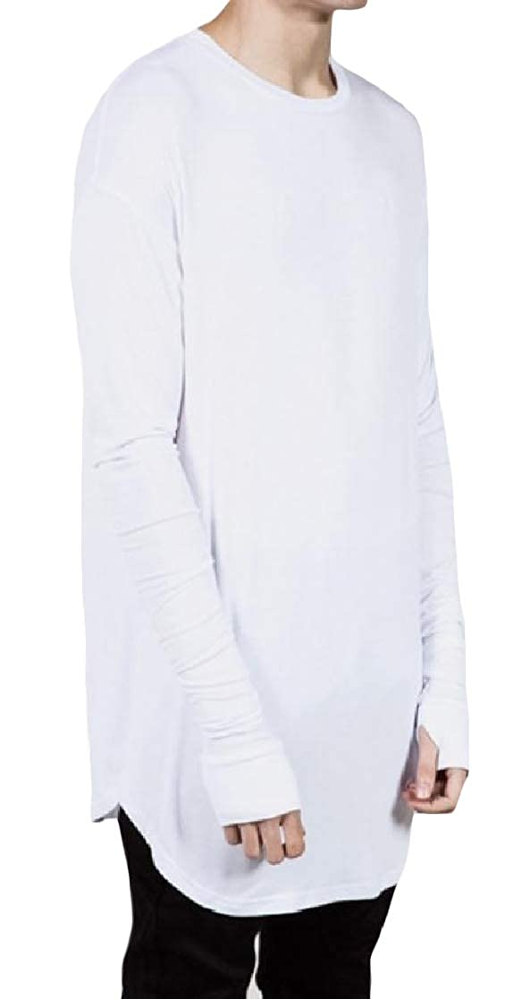 YUNY Men Casual Long-Sleeve Mid-Long Pullover Crew-Neck Solid Tees Top White M