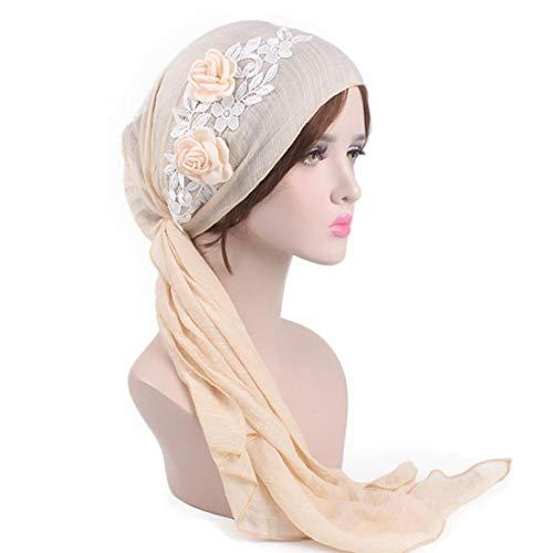 Tied Scarf Fashion (SUKEQ Women Retro Pre-Tied Turban Hat Flower Bella Scarf Chemo Hat Bandana Tichel Country Garden Headwear for Cancer Patients (Beige))
