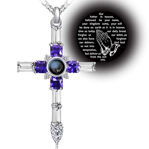 (VISILOVE Cross Necklace with Lord' s Prayer and Praying Hands Pendant (Amethyst Purple Baguette))