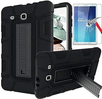 Coque Samsung Galaxy Tab E 9.6, SM-T560 / T561 / T567 - Coque Galaxy Tab E 9.6 avec protection d'écran HD, L00KLY [3 en 1] - Trois couches - Résistant ...