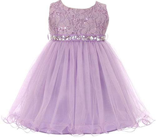 Baby Girls Sleeveless Sequins Rhinestones Tulle Pageant Flower Girl Dress Lilac M (M3B4K0) ()