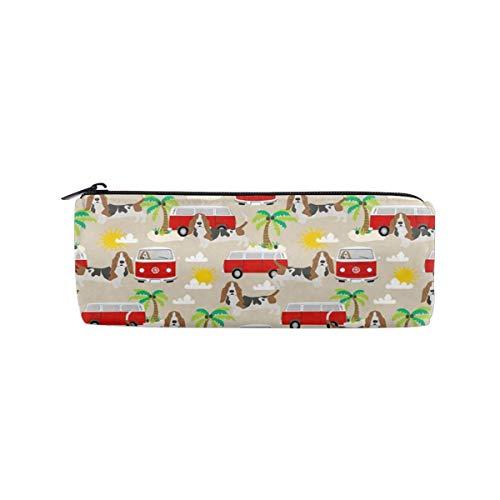 Utyuuoo Pencil Pen Bag Case Basset Hound Dog Summer Bus Palm Trees Women Makeup Bag Cosmetic Storage Pouch Holder Box Organizer Office Supply
