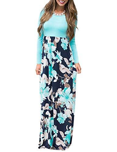 AUSELILY Women Long Sleeve Loose Plain Maxi Dresses Casual Long Dresses with Pockets (2XL, Light Blue)