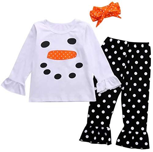 - Toddler Girl Christmas Costume Long Sleeve Snowman Top Shirt+Polka Dot Ruffle Leggings+Headband Set Size 2T/Tag90 (White)