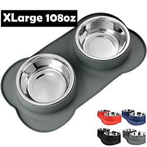 Large Dog Bowls & Mat Set – 2 Large Capacity 54oz (108oz Total) Removable Stainless Steel Bowl Set in a Stylish No Mess, No Spill, Non Skid, Silicone Mat. Food & Water Bowls for Medium to Large Dogs