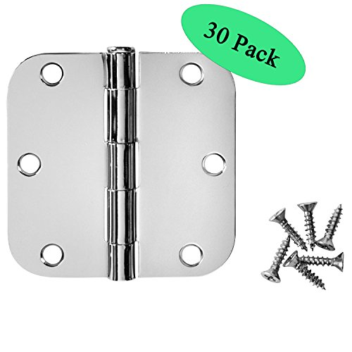 "Cosmas Polished Chrome Door Hinge 3.5"" Inch x 3.5"" Inch with 5/8"" Inch Radius Corners - 30 Pack"