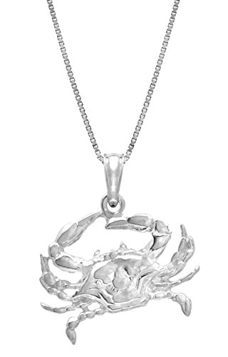 (Sterling Silver 2-d Blue Crab Necklace Pendant with 18