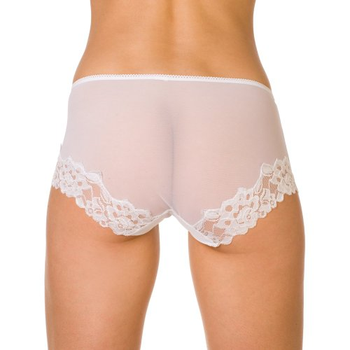 Camille Womens Ladies Underwear White Sheer Lace Boxer