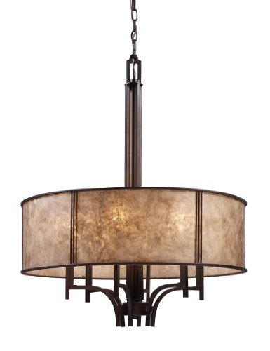 r 6-Light Pendelier In Aged Bronze and Tan Mica Shade ()