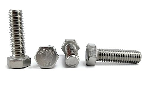 Stainless 3/8-16 X 1-1/4' Hex Head Bolts (3/4' To 5' Length in Listing), 304 Stainless Steel, 25 pieces (3/8-16 X 1-1/4')