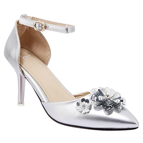 Carolbar Womens Buckle Ankle-Strap Pointed Toe Applique Heeled Sandals Silver hsqei5lDw