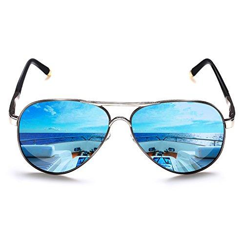ROCKNIGHT Polarized Aviator Sunglasses for Men Women Metal Frame Flat Top Sunglasses Ultralight Blue Mirror Lens UV400 Outdoors ()