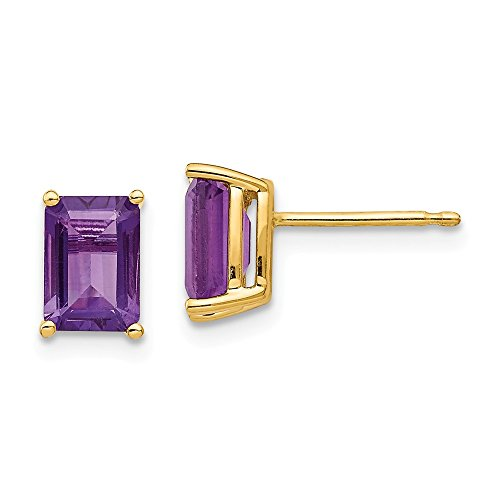 Top 10 Jewelry Gift 14k 7x5mm Emerald Cut Amethyst Earrings