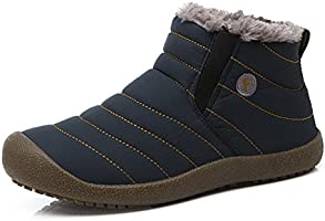 Enly Slip on Waterproof Snow Boots for Men Women,Anti-slip Lightweight Ankle Bootie with Fully Fur