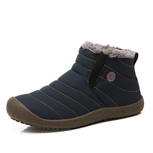 Enly Slip-on Waterproof Snow Winter Boots for Men Women,Anti-Slip Lightweight Ankle Bootie with Fully Fur Navy 8.5