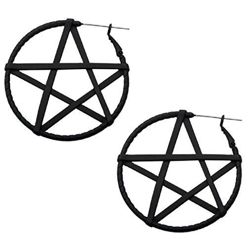 20g Pentagram Hoop Earrings Black Color Sold AS Pair w 124