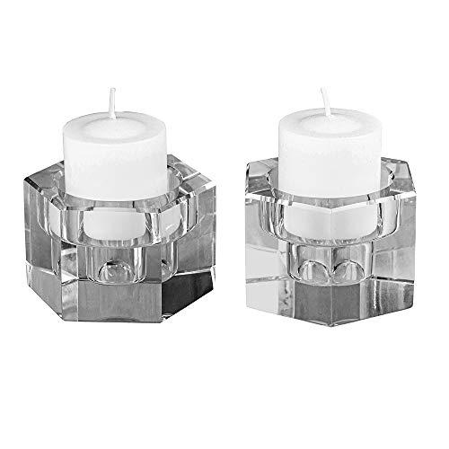 Amlong Crystal Octagon Candlesticks or Tealight Holder, Set of 2