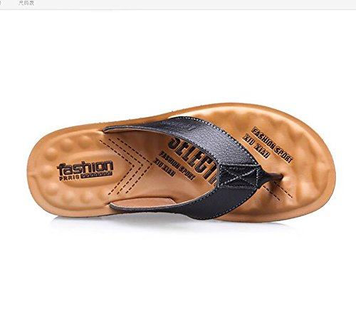 Estate Black Uomo Infradito amp; Brown Pelle Comodo Pantofole Sandali Indoor Spiaggia 44 Outdoor 77SpExq