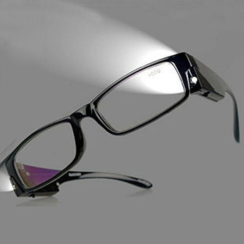 Bright LED Readers with Lights Reading Glasses Lighted Magnifier Nighttime Reader Compact Full Frame Eyewear Clear Vision Unisex Clear Vision Lighted Eye Glasses (+1.50)