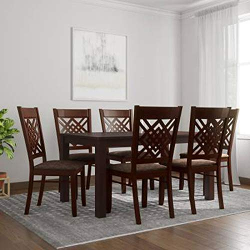 Woodness Mantra 6 Seater Premium Solid Wood Dining Table Set  Matte Finish, Wenge