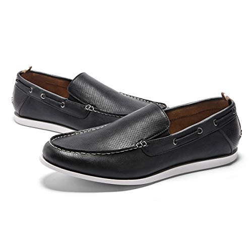 GM GOLAIMAN Men's Boat Shoes Slip On Classic Loafer Stylish Work Shoes Casual Walking Driving Shoes Black -