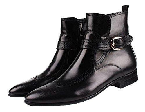 Santimon-mens Äkta Läder Hög Topp Boots Kausala Fritidsskor Oxford Skor Svart