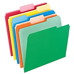 Pendaflex Two-Tone Color File Folders, Letter Size, 1/3 Cut, Assorted Colors, 100 Folders per Box (152 1/3 ASST)
