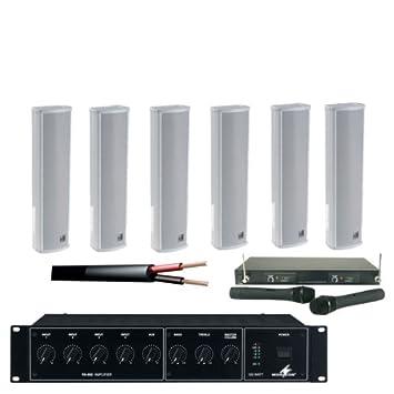 Kit de altavoces de columna 100V, con Amplificador, Cable & 2 micrófonos inalámbricos