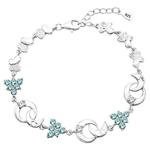 EleQueen 925 Sterling Silver CZ Party Tree Butterfly Moon Star Tennis Bracelet Aquamarine Color, 6.6