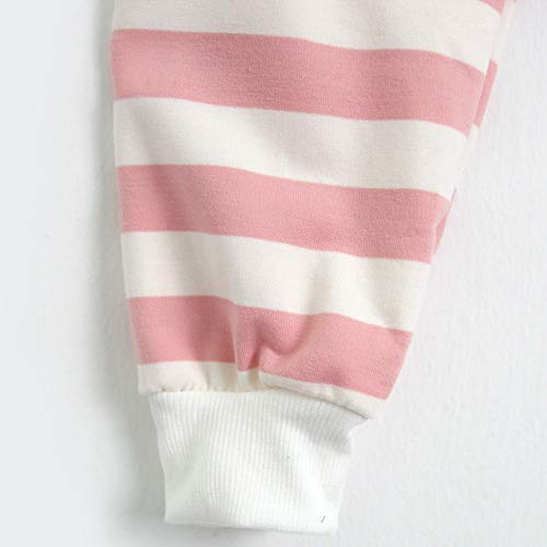 Blouse Jumper Pullover Hooded Casual Stripe Sleeve Womens Top Sweatshirt Long Pink xnzYqO6
