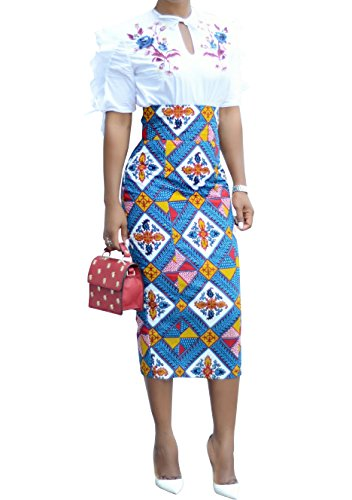 Womens African Print Floral Midi Knee Length Skirts Slim Fit Bodycon High Waist Pencil Dresses Blue