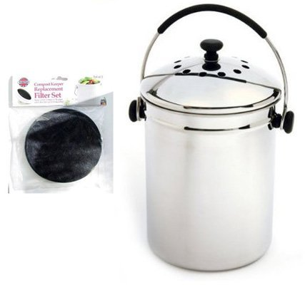 - Norpro GRIP-EZ Stainless-Steel Composter Keeper with 2-pc. Replacement Filter Set