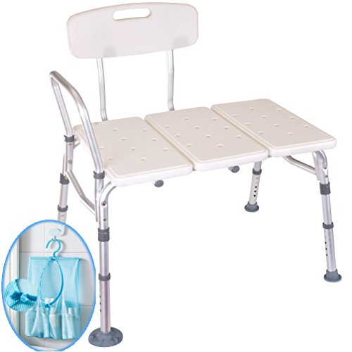 Medokare Shower Transfer Bench Seat - Over Tub Transfer Bench Shower Chair for Elderly, Handicap Transfer Bench for Adults, Adjustable Bathroom Shower Seat with Tote Bag